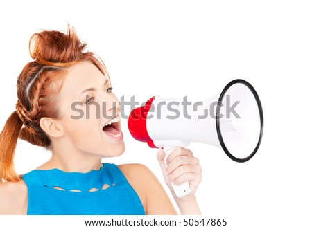 picture of redhead woman with megaphone over white