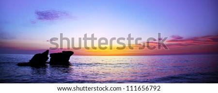 Picture of romantic purple sunset over seascape, peaceful ocean landscape, beautiful rocks in evening sea, calm autumn weather, violet dusk on coastline, night scenery of Mediterranean sea, travel