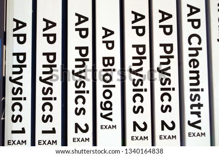 Picture of Scholar books for education background. Advanced Placement exams and tests. US curriculum.