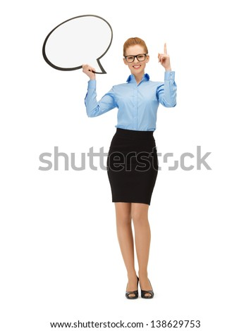 picture of smiling businesswoman in glasses with blank text bubble