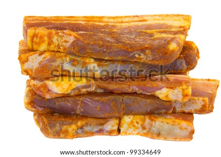 Picture of some slices of spiced raw pork