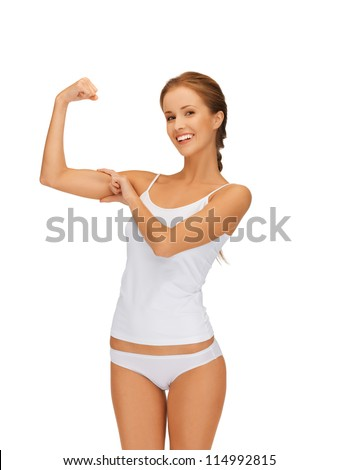 picture of sporty woman in cotton undrewear flexing her biceps