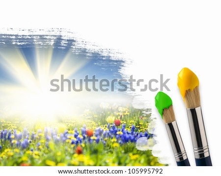 Picture of sunny nature landscape and brushes