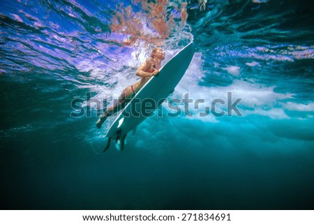 Stock Photo Picture of Surfing a Wave.Under Water Picture.