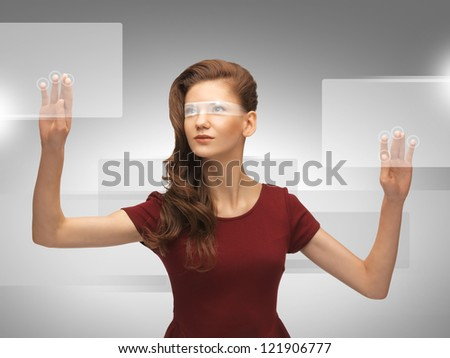 picture of teenage girl in red dress working with virtual screen