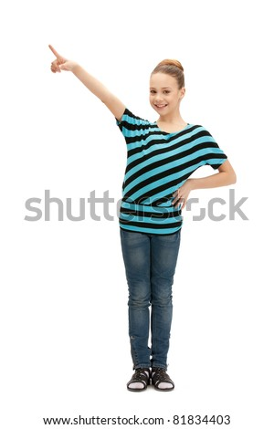picture of teenage girl pointing her finger