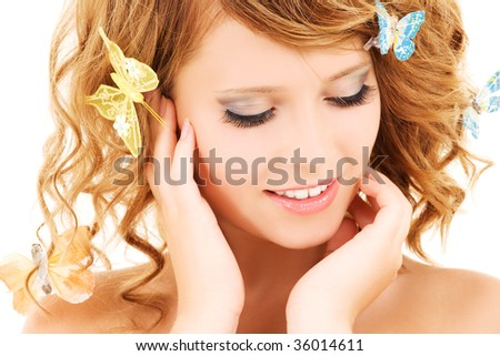 picture of teenage girl with butterflies over white