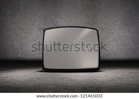 Picture of television vintage on grey background