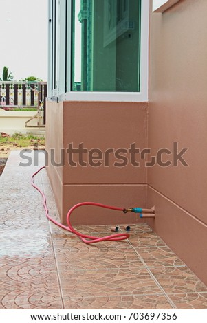 Picture of Termite Control Pipe System, Anti Termite Piping System in new house under construction