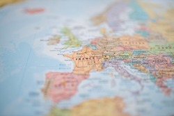 Picture of The Country of France on a Colorful and Blurry European Map