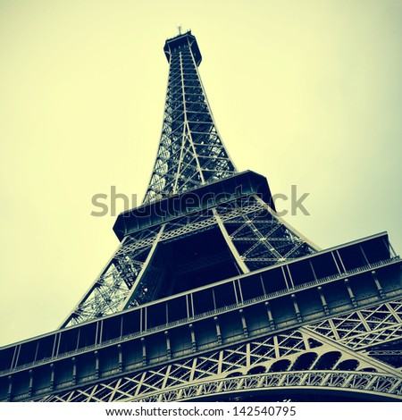 picture of the Eiffel Tower in Paris, France, with a retro effect