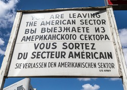 Picture of the former Checkpoint Charlie in the german capital city of Berlin during summer
