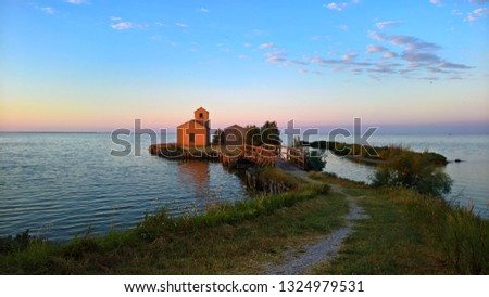 Picture of the guard house called Donnabona, in the Comacchio's valleys  (Italy) at dawn