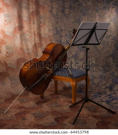 picture of the old cello in a interior