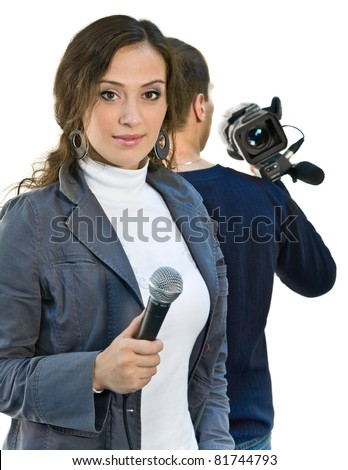 Picture of TV reporter and teleoperator