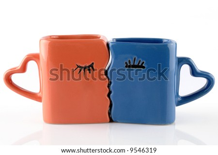 Picture of two mugs on a white background - stock photo