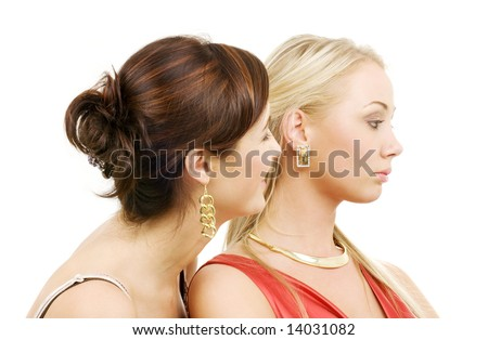 picture of two young girlfriends over white