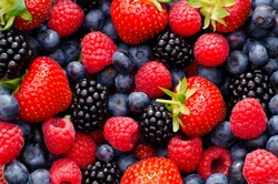 Picture of various fresh berries: raspberry, blackberry, blueberry and strawberry