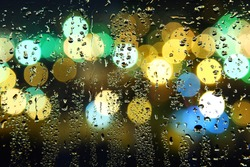 Picture of water drops on window