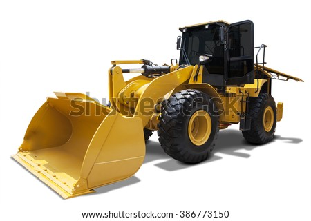 Picture of wheel loader with a steel scoop, isolated on white background