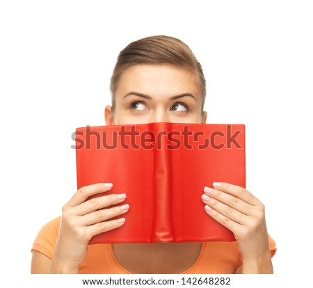 picture of woman eyes and hands holding red book