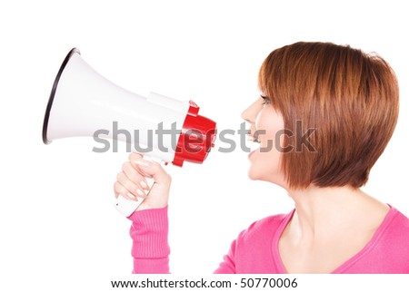 picture of woman with megaphone over white