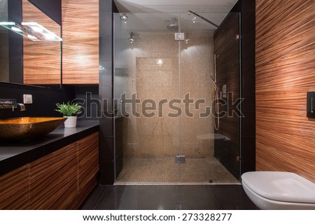 Picture of wooden details in luxury bathroom