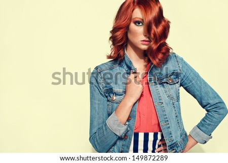 picture of young beautiful red haired girl. red hair. studio