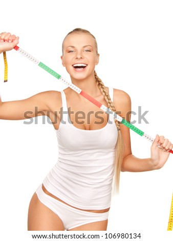picture of young beautiful woman with measure tape