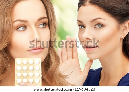 picture of young beautiful women with pills