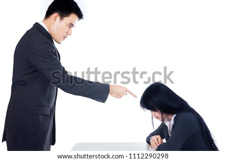 Picture of young boss scolding his sad subordinate, isolated on white background