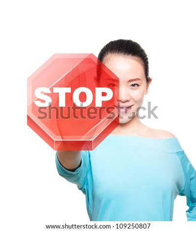 picture of young woman making stop gesture