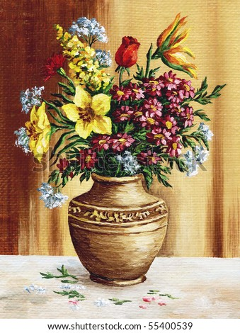 Picture oil paints on a canvas: a bouquet of garden flowers in a clay amphora