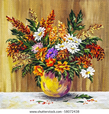 Picture oil paints on a canvas: bouquet of wild flowers in a clay pot