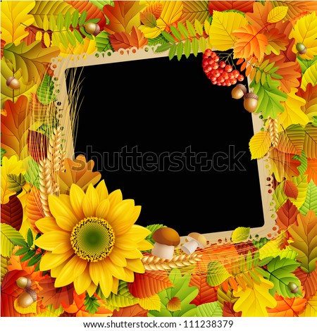 Picture on autumn background with colorful leaves. Check my portfolio for vector version.