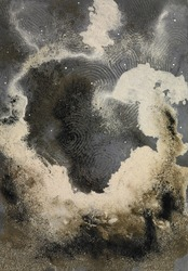 picture painted by me, named Abstract Sand, it shows a cloud-like eruptive sand structure in imagine wide back