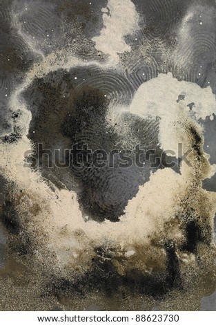 picture painted by me, named Abstract Sand, it shows a cloud-like eruptive sand structure in imagine wide back #88623730