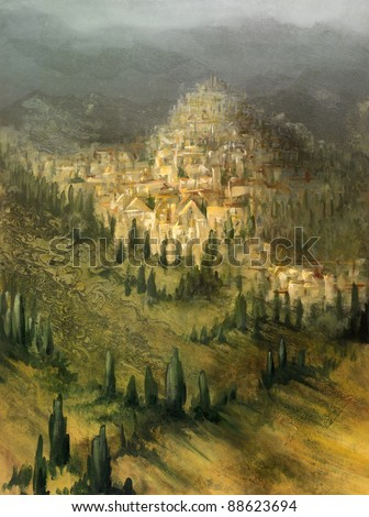 picture painted by me, named Virtual Toscany, it shows mystic landscape with mediterranean vegetation and a small village on a hill, in the back some mountains in stormy ambiance