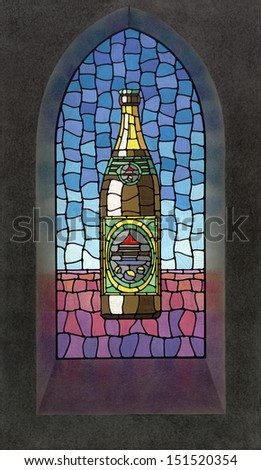picture painted by me showing a beer bottle illustration on a church window