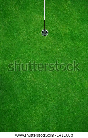 Picture perfect golfhole seen from above - stock photo