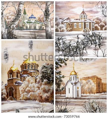 Picture. Russia, Novosibirsk, set churchs. Drawing distemper on a birch bark