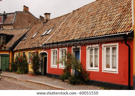 picture showing a old street in sweden