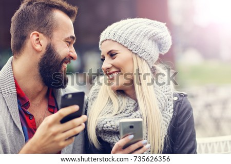 Picture showing happy young couple dating in the city #735626356