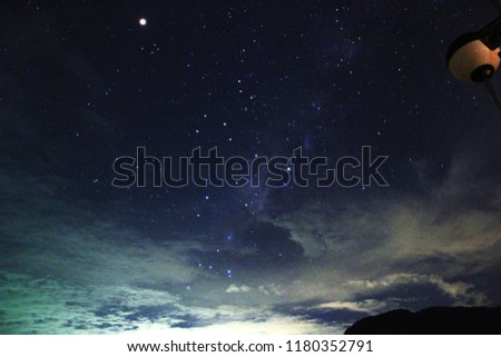 Picture stars and white cloud in the dark night and snowstorm texture on blue background.