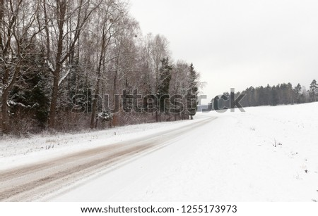 picture taken in winter after snowfall on a small rural road. Snow on the ground