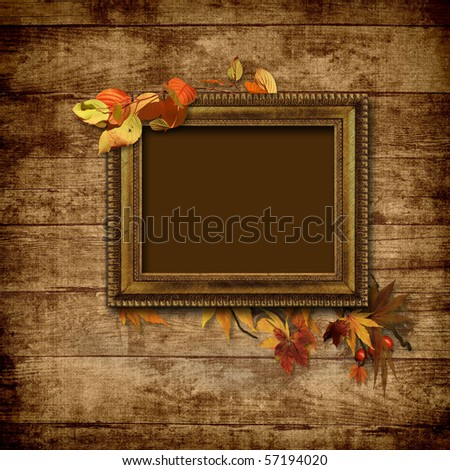 Picture vintage frame on a wooden background