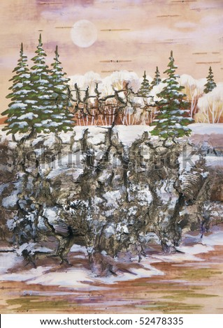 Picture, winter natural landscape, fur-trees on a rock. Handmade, drawing distemper on a birch bark