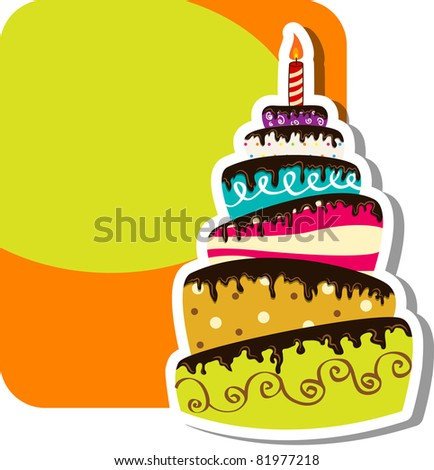 Picture with birthday cake - stock photo