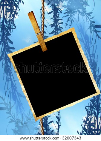 picture with clothes peg on a blue background