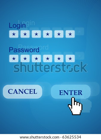 Picture with Login, Password and hand pushing Enter